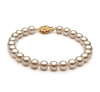 White 6-7mm AAAA Quality Freshwater Gold filled Cultured Pearl Bracelet