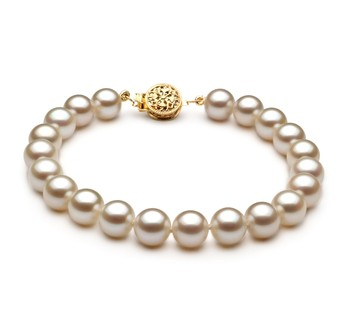 White 7-8mm AAAA Quality Freshwater Gold filled Cultured Pearl Bracelet
