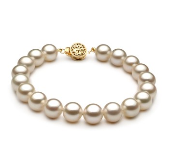 White 8-8.5mm AAAA Quality Freshwater Gold filled Cultured Pearl Bracelet
