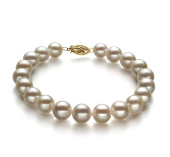 White 8.5-9mm AA Quality Freshwater Gold filled Cultured Pearl Bracelet