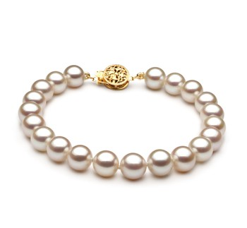 White 7-8mm AAA Quality Freshwater Gold filled Cultured Pearl Bracelet