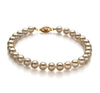 White 5.5-6mm AAA Quality Freshwater Gold filled Cultured Pearl Bracelet