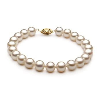 White 7.5-8.5mm AA Quality Freshwater Cultured Pearl Bracelet