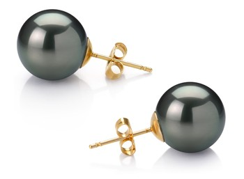 Black 12-13mm AAA Quality Tahitian 14K Yellow Gold Cultured Pearl Earring Pair