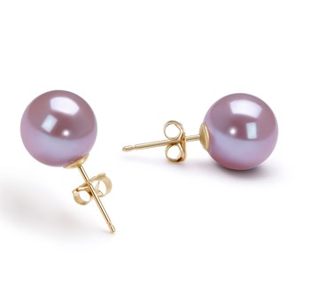 Lavender 9-10mm AAAA Quality Freshwater Cultured Pearl Earring Pair