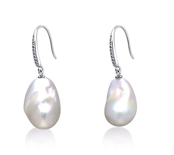 White 12-13mm AA+ Quality Freshwater - Edison 925 Sterling Silver Cultured Pearl Earring Pair