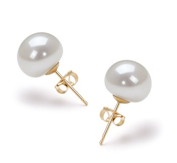 White 9-10mm AAA Quality Freshwater Cultured Pearl Earring Pair