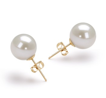 White 9-10mm AAAA Quality Freshwater Cultured Pearl Earring Pair