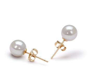 White 6-7mm AA Quality Japanese Akoya Cultured Pearl Earring Pair