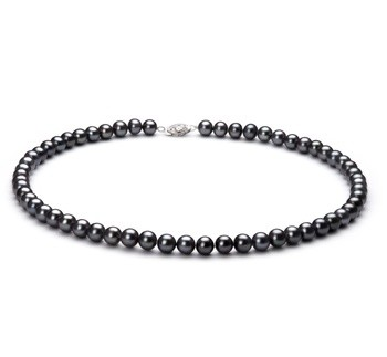 Black 6-7mm AA Quality Freshwater 925 Sterling Silver Cultured Pearl Necklace