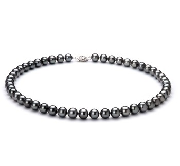 Black 7.5-8.5mm AA Quality Freshwater 925 Sterling Silver Cultured Pearl Necklace