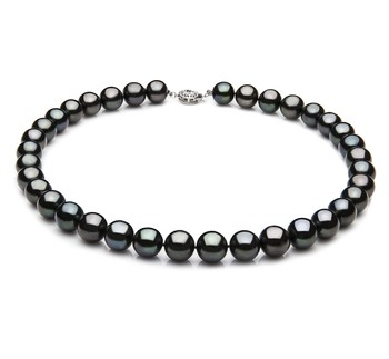 Black 9.5-10.5mm AAA Quality Freshwater 925 Sterling Silver Cultured Pearl Necklace