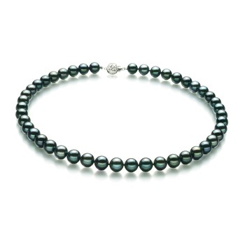 Black 8.5-9mm AA Quality Japanese Akoya 925 Sterling Silver Cultured Pearl Necklace