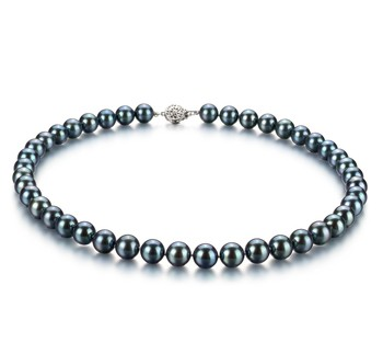 Black 8.5-9mm AAA Quality Japanese Akoya 925 Sterling Silver Cultured Pearl Necklace