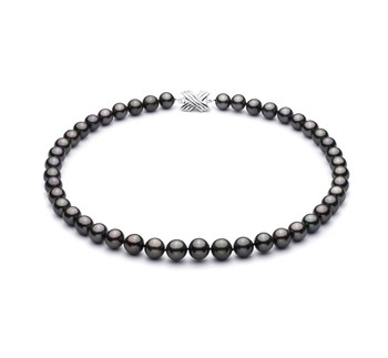 Black 9.2-10.9mm AAA Quality Tahitian 14K White Gold Cultured Pearl Necklace