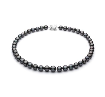 Black 9.1-11mm AA+ Quality Tahitian 14K White Gold Cultured Pearl Necklace