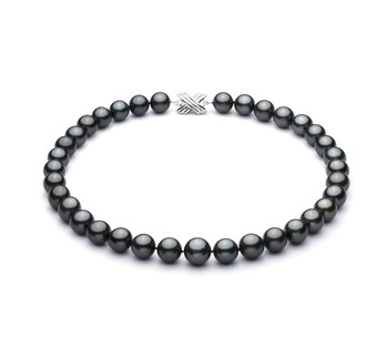 Black 11.2-13.8mm AA+ Quality Tahitian 14K White Gold Cultured Pearl Necklace