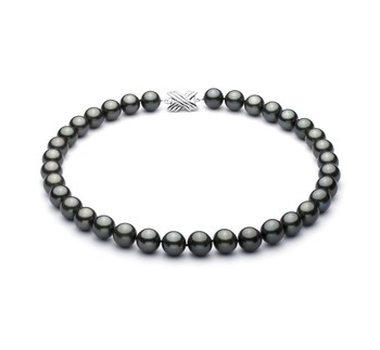 Black 10.9-13.8mm AAA Quality Tahitian 14K White Gold Cultured Pearl Necklace