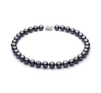 Black 11.1-11.94mm AAA Quality Tahitian 14K White Gold Cultured Pearl Necklace