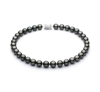 Black 11.3-12.18mm AAA Quality Tahitian 14K White Gold Cultured Pearl Necklace