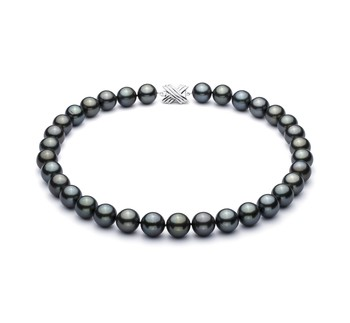 18'' Black 12-12.93mm AAA Quality Tahitian 14K White Gold Cultured Pearl Necklace