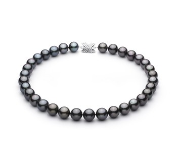 Black 12.01-13.08mm AAA Quality Tahitian 14K White Gold Cultured Pearl Necklace