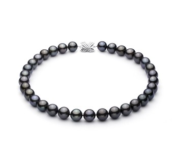 Black 12-12.89mm AAA Quality Tahitian 14K White Gold Cultured Pearl Necklace