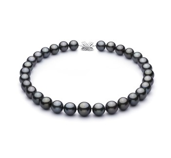 Black 13.1-16mm AAA+ Quality Tahitian 14K White Gold Cultured Pearl Necklace