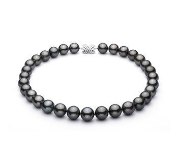 Black 13-15.5mm AAA Quality Tahitian 14K White Gold Cultured Pearl Necklace