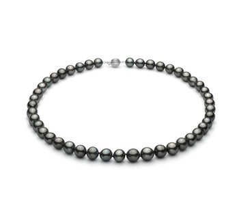 Black 8-10mm AA+ Quality Tahitian 14K White Gold Cultured Pearl Necklace