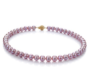 Lavender 8.5-9.5mm AAA Quality Freshwater Gold filled Cultured Pearl Necklace
