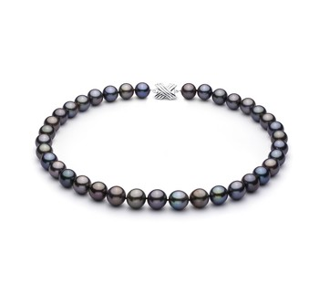 Multicolour 11.07-12.9mm AAA Quality Tahitian 14K White Gold Cultured Pearl Necklace