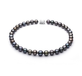 Multicolour 11.09-13.54mm AA+ Quality Tahitian 14K White Gold Cultured Pearl Necklace