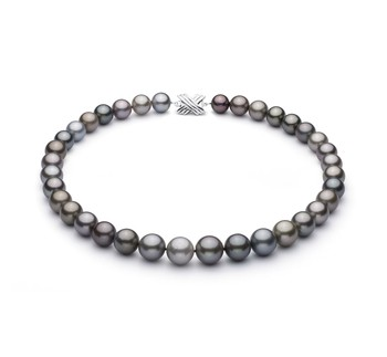 Multicolour 11-14.6mm AAA Quality Tahitian 14K White Gold Cultured Pearl Necklace