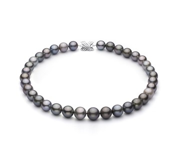 Multicolour 9.22-13.87mm AA+ Quality Tahitian 14K White Gold Cultured Pearl Necklace