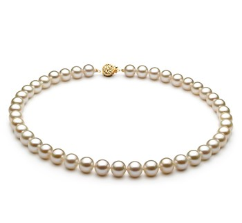White 8-8.5mm AAAA Quality Freshwater Gold filled Cultured Pearl Necklace