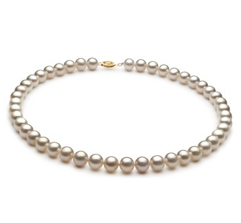 White 8.5-9mm AA Quality Freshwater Gold filled Cultured Pearl Necklace