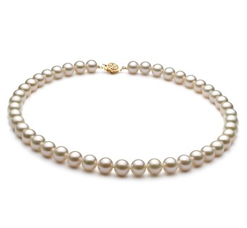 White 8-9mm AAA Quality Freshwater Gold filled Cultured Pearl Necklace