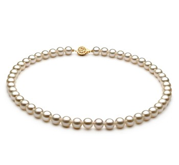White 7-8mm AAAA Quality Freshwater Gold filled Cultured Pearl Necklace