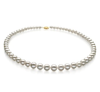White 5-10mm AAA Quality Freshwater Gold filled Cultured Pearl Necklace
