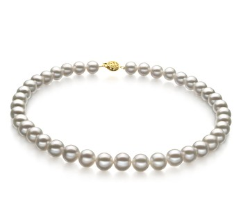 White 9-10mm AAA Quality Freshwater Gold filled Cultured Pearl Necklace
