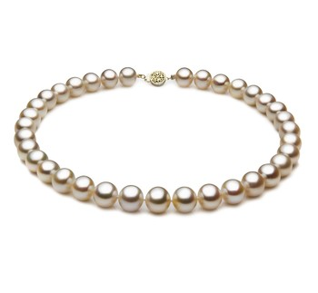 White 10.5-11.5mm AAA Quality Freshwater Gold filled Cultured Pearl Necklace
