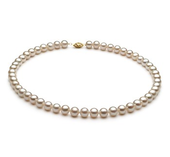 White 7.5-8.5mm AA Quality Freshwater Cultured Pearl Necklace