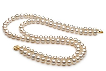 White 7.5-8.5mm Double Strand AA Quality Freshwater Cultured Pearl Necklace