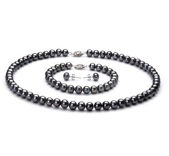 Black 6-7mm AA Quality Freshwater 925 Sterling Silver Cultured Pearl Set