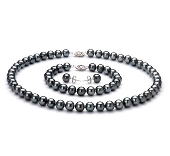 Black 7.5-8.5mm AA Quality Freshwater 925 Sterling Silver Cultured Pearl Set