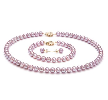 Lavender 6-6.5mm AAAA Quality Freshwater Gold filled Cultured Pearl Set