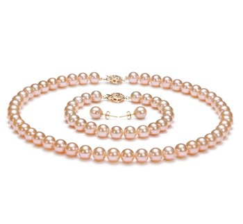 Pink 7-8mm AAAA Quality Freshwater Gold filled Cultured Pearl Set