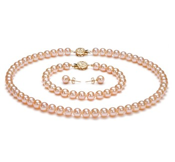 Pink 6-6.5mm AAAA Quality Freshwater Gold filled Cultured Pearl Set