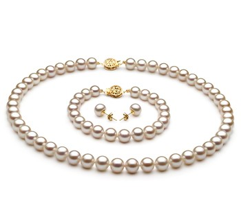 White 7-8mm AAA Quality Freshwater Gold filled Cultured Pearl Set